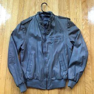 Vintage Gray Leather Biker Jacket